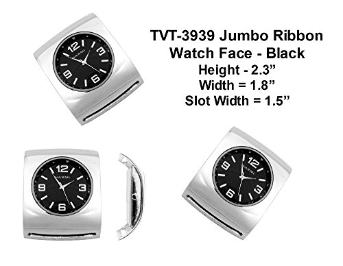 PlanetZia Jumbo Ribbon Watch Faces for Your Interchangeable Beaded Bands TVT-3939 (Black)