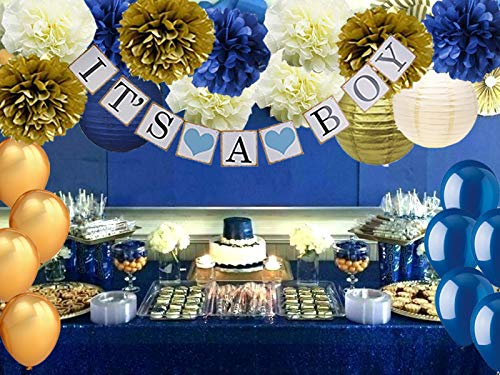 4e3349d9a9b29 Navy Blue Baby Shower Party Decorations-It s A BOY Banner Tissue Pom Pom  Paper Lanterns