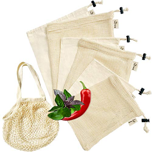 Reusable Produce Bags Set of 7-3 Mesh 3 Muslin & 1 Grocery Bag - Premium Eco-Friendly Organic Biodegradable Washable Cotton Cloth Drawstring Bags for Vegetables Fruit Grocery Storage