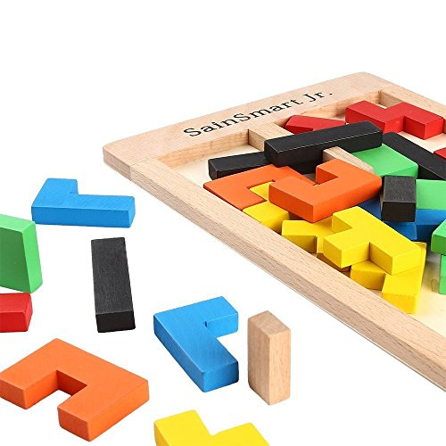 5129Xqtr9rL - SainSmart Jr. Wooden Tetris Puzzle 40 Pcs Brain Teasers Toy for Kids, Wood Puzzle Box Brain Games Wood Burr Tangram Jigsaw Toy Children Days