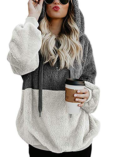 BTFBM Women Hooded Fleece Jacket Pullover Long Sleeve Zip Hoodie Sweatshirt Coat Outwear by BTFBM