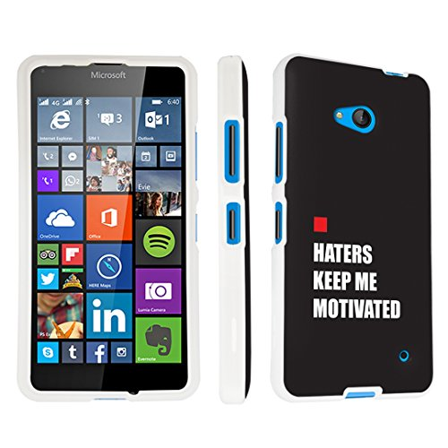 (DuroCase Microsoft Lumia 640 (for Metro PCS Version ONLY; Released in 2015) Hard Case White - (Haters Keep Me Motivated))