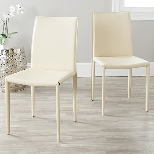 Safavieh Home Collection Karna Modern Cream Dining Chair (Set of 2) (Chairs Leather Cream Kitchen)