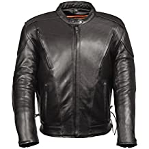 Leather King Men's Side Lace Vented Scooter Jacket (Black, 12X-Large)