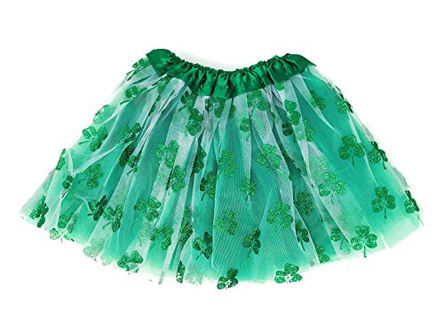 Rush Dance Ballerina St Patrick's Day Parade Shamrock Clover Costume Tutu (Kids (2-8 Years), White Green ()