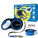 Triton Retractable Dog Leash Tangle-Free, Heavy Duty Leash With Anti-Slip Handle; 16 ft Strong Nylon Tape/Ribbon, One-Handed Brake, Pause; With Collapsible Water Bowl