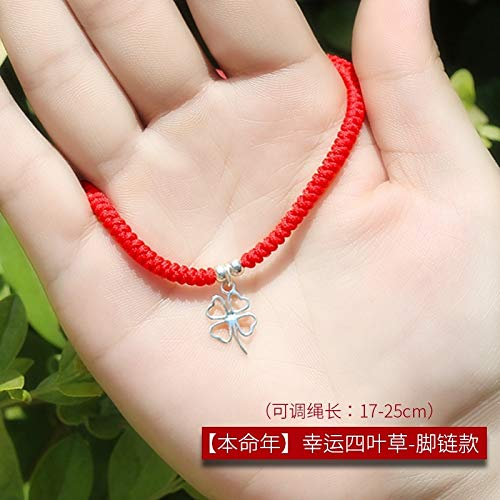 Anklet Soccer (Couple Lover Silver anklets Women Girls Hand-Woven red String Transporter Archaic Bell Bracelet Bangle Voice Foot Rope Chain Soccer Team (Clover Anklet red String (925 Silver))