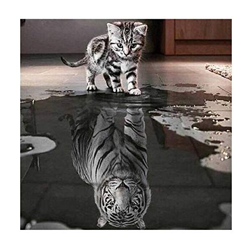 5D Diamond Painting, Little Cat Want to be Big Tiger DIY Diamond Painting with Full Kits Craft Like Embroidery Cross Stitch for Home, Wall and Entrance Decorations