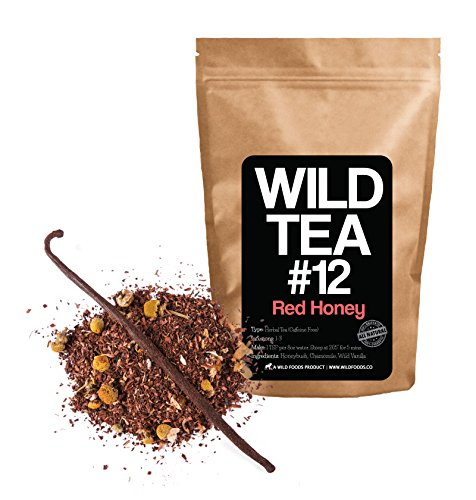 "Chamomile and Honeybush Tea with Vanilla Bean, Wild Tea #12 ""Red Honey"" Herbal Tea with Chamomile Flowers - Organically Grown Ingredients (4 (Foods Chamomile Tea)"