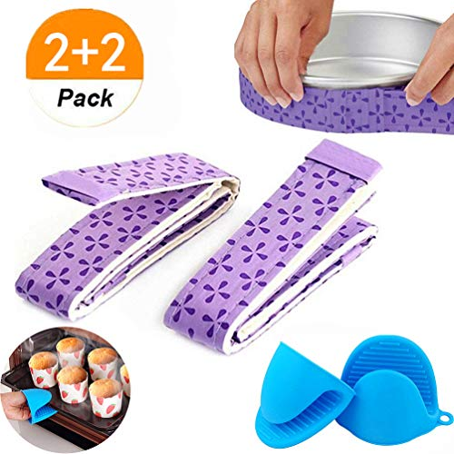 (JeVenis (4 Piece) Bake Even Strip Cake Pan Dampen Strips Super Absorbent Thick Cotton with Silicone Pinch Mitts Heat Resistance Hot Handle Holder Cooking Nonslip Grip Frozen Ice for Home)