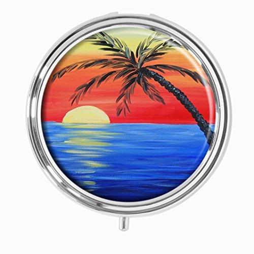 Youroom Tropical Sunset Custom HOT Sales Stainless Steel Round Pill Box Medicine Vitamin Organizer Holder Decorative box