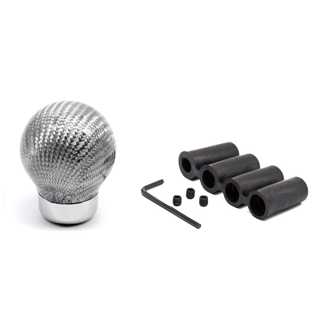 Tasan Racing Universal Manual//Automatic Carbon Fiber Ball Gear Shifter Knob//Gear Shifter Level Silver
