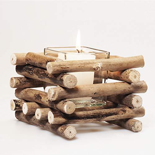 Set de 2 Velas Decorativas con vaso de vidrio   Estilo rústico   Portavelas de madera de mesa para decoración del hogar.