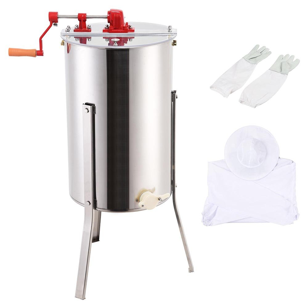 Yescom Manual Stainless Steel Honey Extractor 2 Frame Beekeeping Protective XL Jacket & Gloves Kit for Beekeeper
