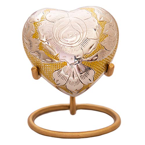 - Rose Gold Heart Keepsake Urn - Mini Funeral Urn with Free Premium Velvet Box & Display Stand - Small Handcrafted Cremation/Burial Urn for Adult Human, Infants & Pets - Tribute To Your Loved One