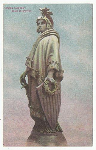 (Armed Freedom - Dome of Capitol, Washington D.C. Vintage Original Postcard #1703 - 1940's )