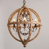 Lovedima New 24'' Wide Retro Rustic Weathered Wooden Globe Chandelier Crystal 5-Light Pendant Lighting