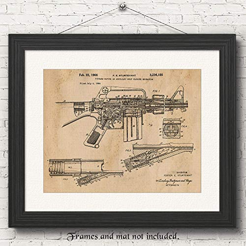 Original M16 Rifle Patent Art Poster Print -Set of 1 (One 11x14) Unframed Photo - Great Wall Art Decor Gifts Under $20 for Home, Office, Garage, Man Cave, NRA Fan, Collector, Owner, Scarface Movie Fan