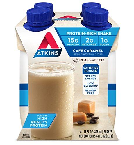 Atkins Gluten Free Protein-Rich Shake, Café Caramel, Keto-Friendly 4 Count