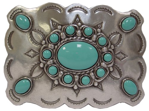 Turquoise Sterling Silver Finish Belt Buckle