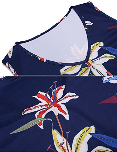 Floral Patchwork Sleeveless Dress BURLADY Flare A Fit Women Belt Retro Line Pat4 s xXITtTf