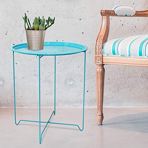 CAP LIVING 1 or Set of 2, Round 18-Inch/Square Metal End Table, Side Table, Colors Available in Capri Breeze (Blue) and Samba Red ()