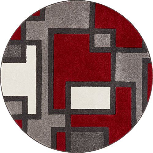 Well Woven 600900 Red Imagination Squares Modern Geometric 5'3