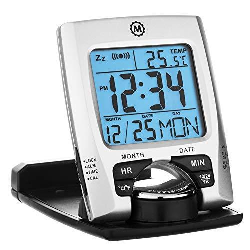 Marathon CL030023 Travel Alarm Clock with Calendar & Temperature - Battery Included (Silver)