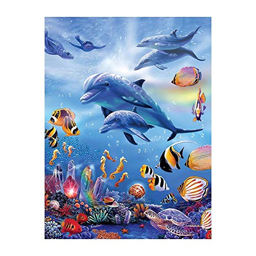 - ForU-1 5D DIY Full Drill Diamond Painting Dolphin Cross Stitch Embroidery (40x50cm