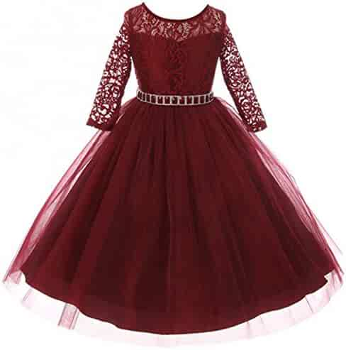 dd3eec2e9 Girls Dress Lace Top Rhinestones Tulle Holiday Christmas Party Flower Girl  Dress