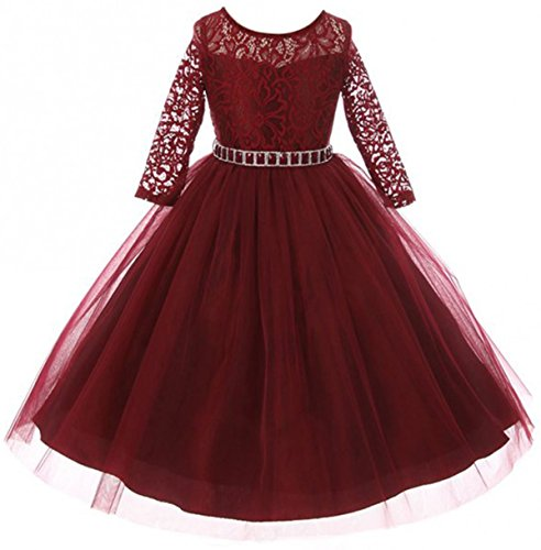 Big Girls' Dress Lace Top Rhinestones Tulle Holiday Christmas Party Flower Girl Dress Burgundy Size 12 (M37BK2)