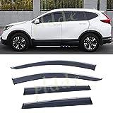 PLDDE 4pcs Smoke Tint With Chrome Trim Outside Mount Tape On/Clip On Style PVC Sun Rain Guard Window Visors Fit 17-19 Honda CRV CR-V