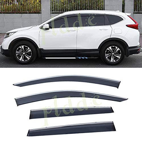 PLDDE 4pcs Smoke Tint With Chrome Trim Outside Mount Tape On/Clip On Style PVC Sun Rain Guard Window Visors Fit 17-19 Honda CRV CR-V ()