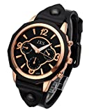 Top Plaza Womens Mens Fashion Rose Gold Tone Leather Analog Quartz Wrist Watch Arabic Numerals Big Face Casual Sport Watch - Black