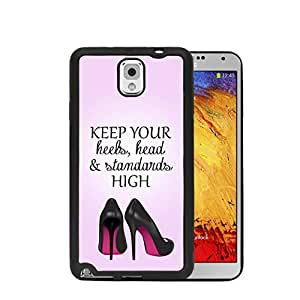Black High Heel Shoes Girly Inspirational Quote Pink Gradient Back Samsung GALAXY Note 3 III (N9000) Rubber TPU Silicone Phone Case
