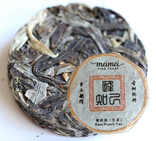 MeiMei Fine Teas Confidant Yunnan Raw Pu'erh Mini Cake - Green Puer Tea - Organically Grown Arbor Tree High Mountain (Confidant Raw Pu'erh Mini Cake 100g/3.5oz)