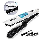 #8: Steam Hair Straightener, Mamada Fast Electric Smooth Brush Ceramic Hair Straightener Comb Steam Flat Iron with LCD Straight Brush