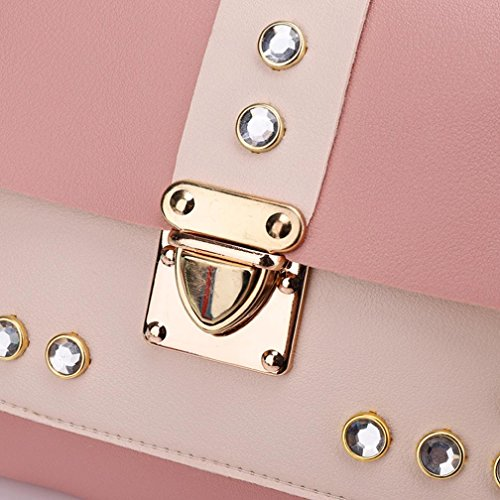 Bag Color Satchel Tote Shoulder Rhinestone Crossbody Bags Messenger KIMODO Pink Women Hit O6Caaq