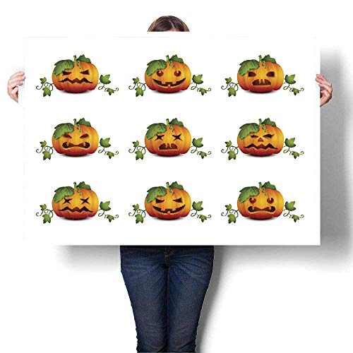 MartinDecor Poster Prints Halloween Pumpkin Set Decorative Fine Art Canvas Print Poster K 36