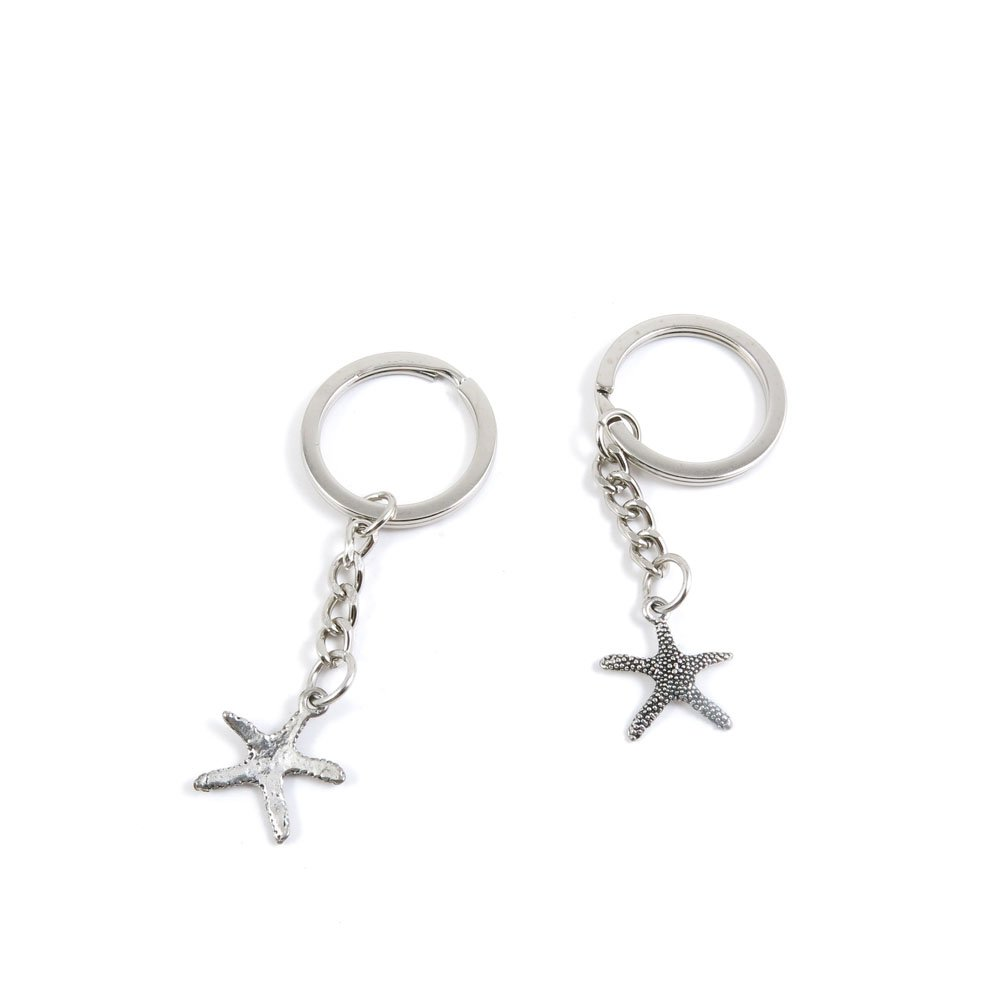 1 Pieces Keychain Door Car Key Chain Tags Keyring Ring Chain Keychain Supplies Antique Silver Tone Wholesale Bulk Lots K5YJ7 Starfish