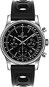 Breitling Transocean Chronograph Diamond Watch w/ Ocean Racer Rubber Strap AB015253/BA99-200S