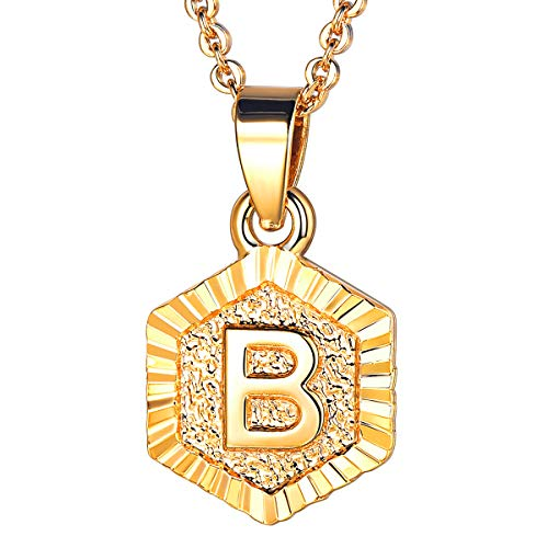 U7 Tiny Hexagon Initials Necklace for Women Girls Platinum Plated 26 Initials Jewelry A to Z Capital Letter Charm Embossed Grain Monogram Pendant with 18-20 Inch Rolo Chain, Alphabet B (Best Things To Monogram)