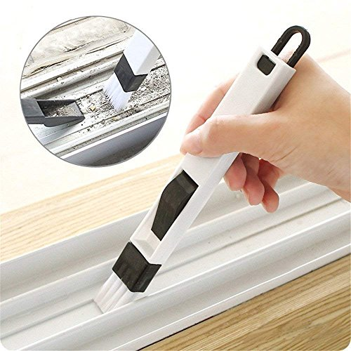 YiShine Portable 2-in-1 Multipurpose Window Groove Cleaning Brush with Dustpan, Corner Cranny Household Keyboard Detachable Brush Cleaning ()