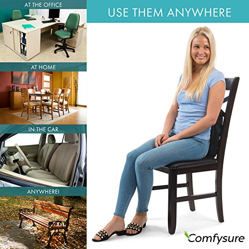 ComfySure Lumbar Support Seat Back Cushion – Memory Foam with Removable Mesh Cover - Lower Back Pain Relief, Helps Posture - Fits Most Office, Desk, Computer Chairs and Car Seats by ComfySure (Image #5)