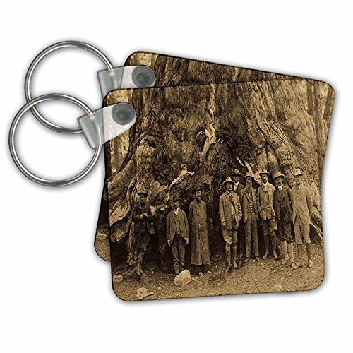Teddy Roosevelt, John Muir Beneath Redwood Tree Sepia - Key Chains, 2.25 x 2.25 inches, set of 2 (kc_16240_1)