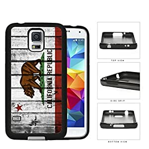 California State Flag Wood Grunge Pattern Hard Rubber TPU Phone Case Cover Samsung Galaxy S5 I9600
