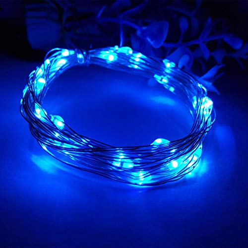 Viewpick 4m 40 LEDs Blue Fairy Lights Silver Wire String Lights AA Battery Powered Led String Starry Light for Outdoor Decorative Halloween Christmas Holiday Wedding Parties Activities ()