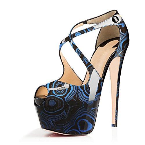 Joogo Open Toe Platform Stilettos Ankle Corss Strap Buckle Snap High Heels Wedding Pumps Blue Print Size 6 (Stiletto Mule Platform)