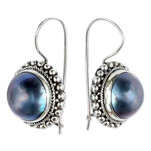 - NOVICA Dyed Blue Cultured Mabe Pearl .925 Sterling Silver Drop Earrings, Once in a Blue Moon'