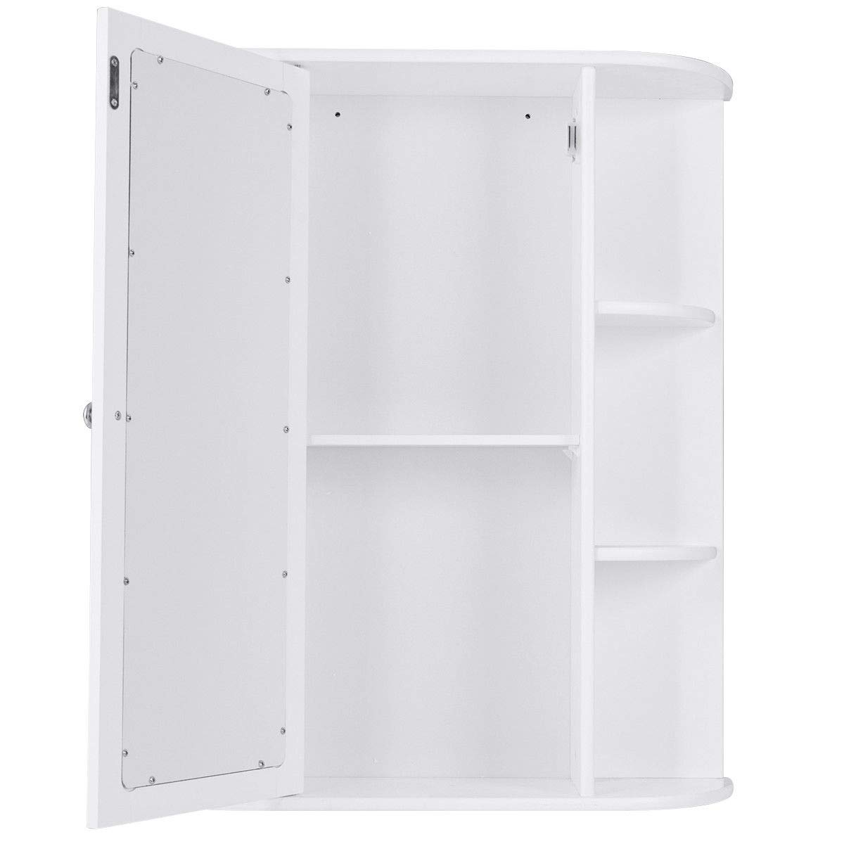 TANGKULA Bathroom Cabinet Single Door Wall Mount with Mirror Organizer Storage Cabinet(2 Tier Inner Shelves) by TANGKULA (Image #8)